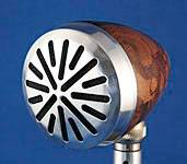 BlowsMeAway Productions custom wood bullet microphone - Starburst grill